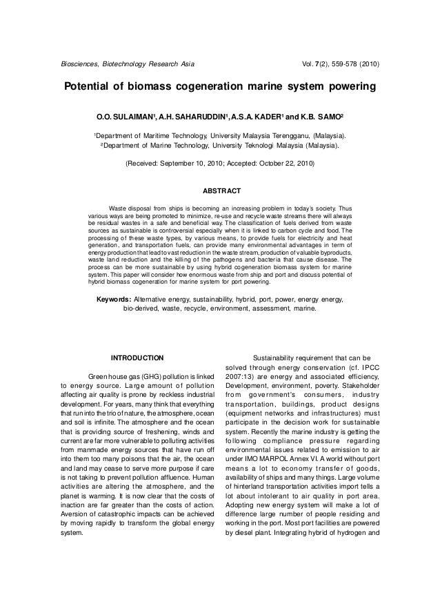Potential of biomass cogeneration marine system powering