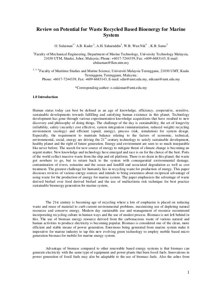Review on Potential for Waste Recycled Based Bioenergy for Marine                                   System                ...