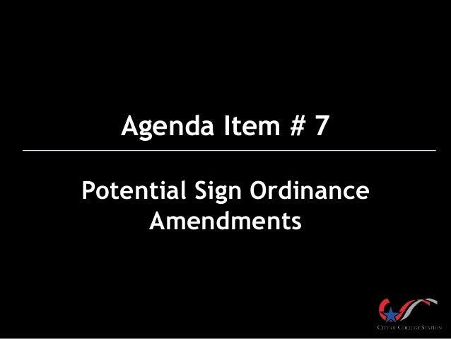 Potential Sign Ordinance Amendments