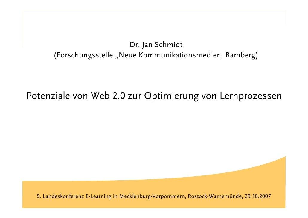 """Titel                               Dr. Jan Schmidt         (Forschungsstelle """"Neue Kommunikationsmedien, Bamberg)     Pot..."""
