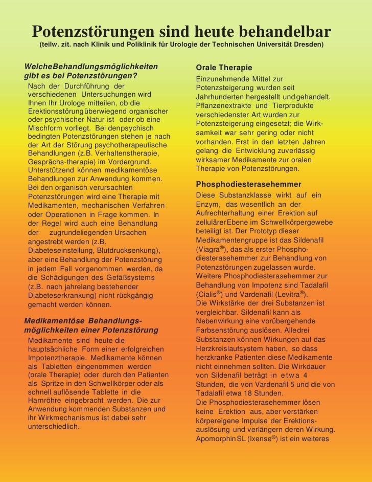 Potenzstörungen sind heute behandelbar     (teilw. zit. nach Klinik und Poliklinik für Urologie der Technischen Universitä...