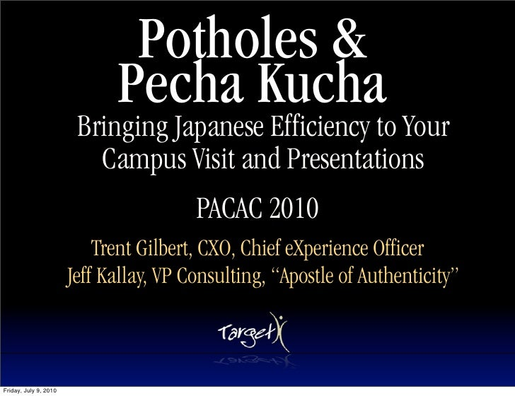 Potholes &                              Pecha Kucha                         Bringing Japanese Efficiency to Your          ...