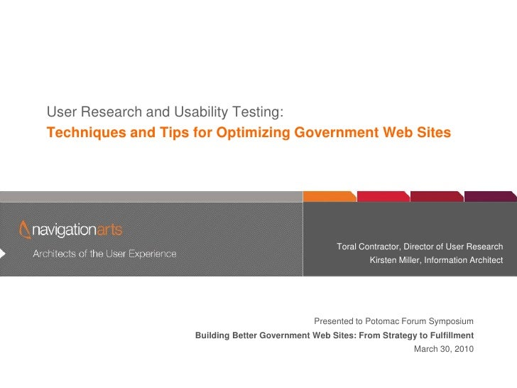 User Researchofand Experience          Architects the User                              Usability Testing: Techniques and ...