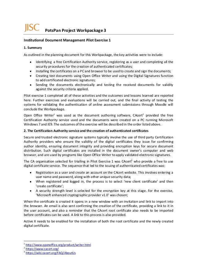 PotsPan Project Workpackage 3Institutional Document Management Pilot Exercise 11. SummaryAs outlined in the planning docum...
