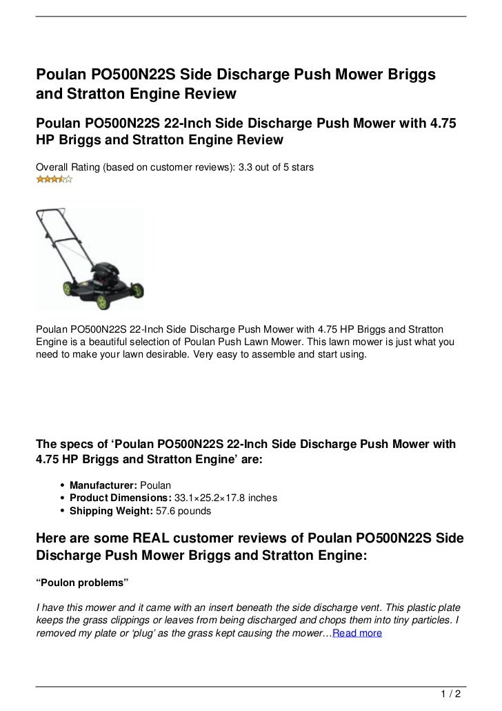 Poulan PO500N22S Side Discharge Push Mower Briggsand Stratton Engine ReviewPoulan PO500N22S 22-Inch Side Discharge Push Mo...