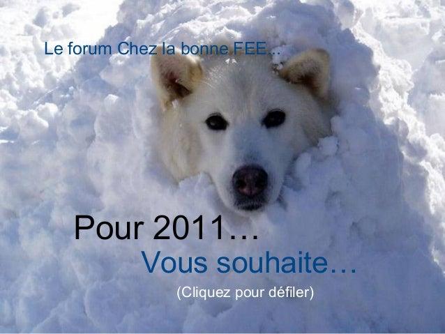 Pour 2011… Vous souhaite… (Cliquez pour défiler) Le forum Chez la bonne FEE...