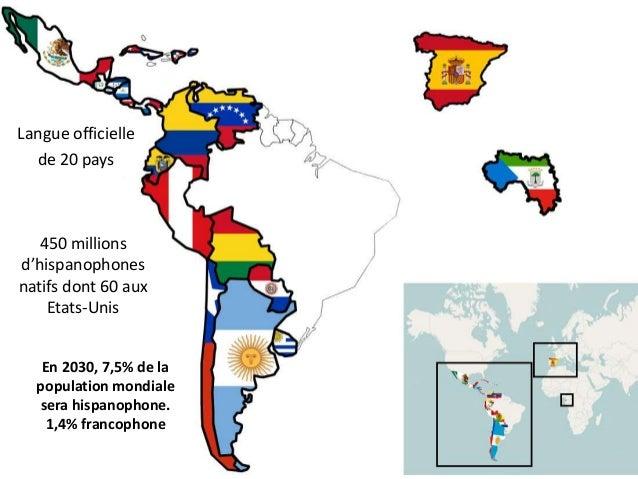 Langue officielle de 20 pays En 2030, 7,5% de la population mondiale sera hispanophone. 1,4% francophone 450 millions d'hi...