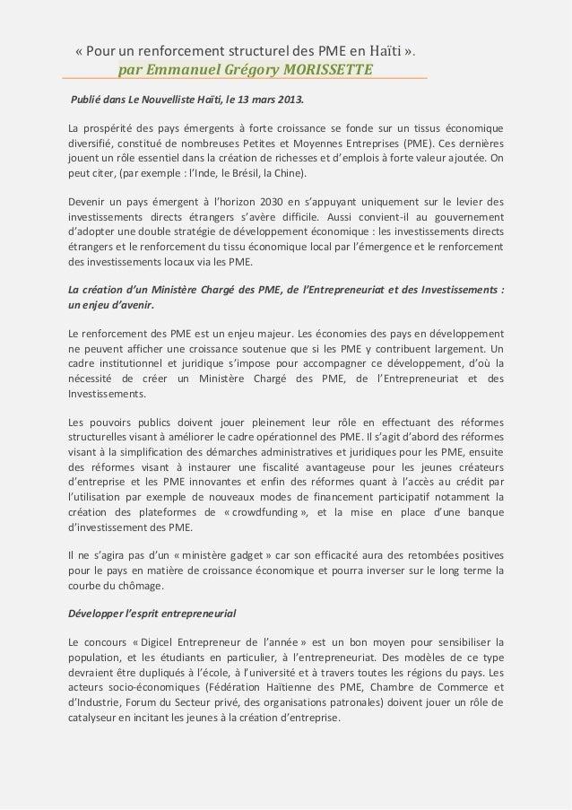 « Pour un renforcement structurel des PME en Haïti ». par Emmanuel Grégory MORISSETTE Publié dans Le Nouvelliste Haïti, le...