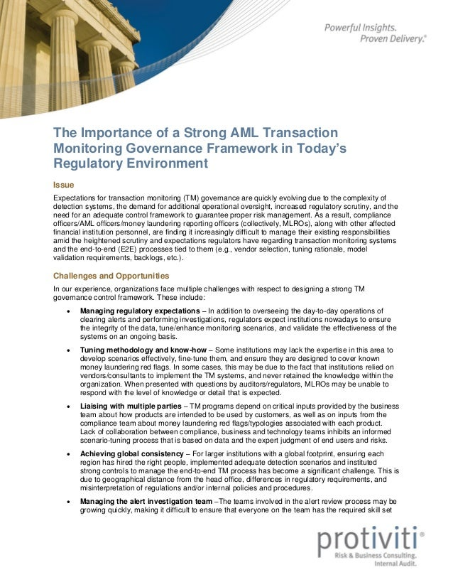 The Importance of a Strong AML Transaction Monitoring Governance Framework in Today's Regulatory Environment - A Protiviti Point of View