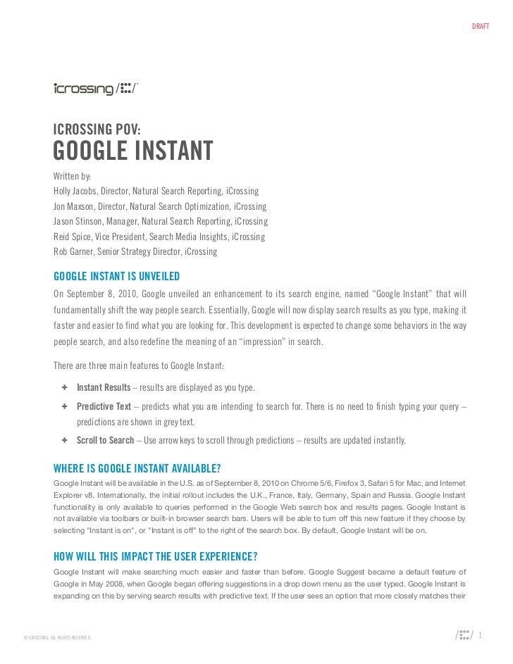 POV on Enterprise Marketing Impact of Google Instant