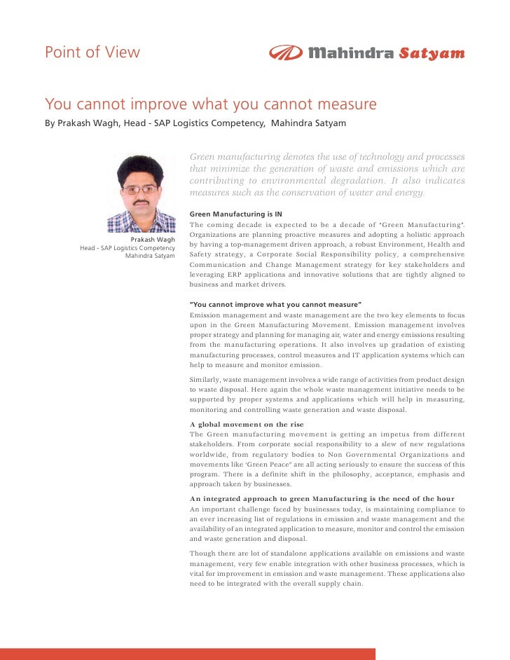 Point of View   You cannot improve what you cannot measure By Prakash Wagh, Head - SAP Logistics Competency, Mahindra Saty...