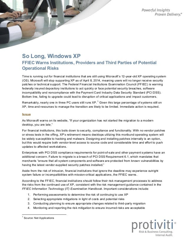 So Long, Windows XP: FFIEC Warns Institutions, Providers and Third Parties of Potential Operational Risks