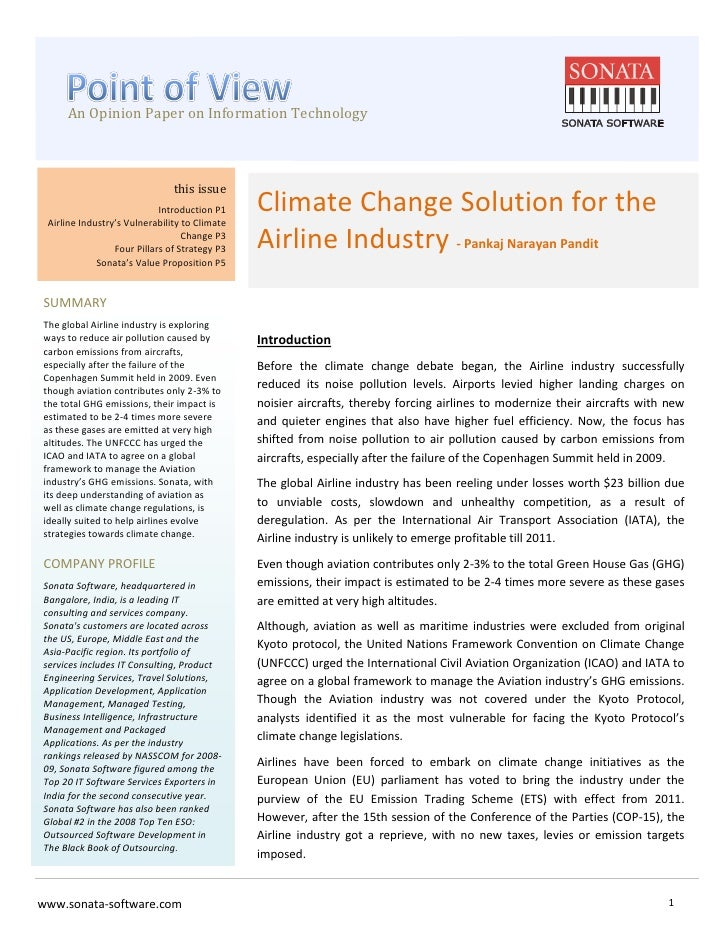 POV - Climate change solution for the airline industry