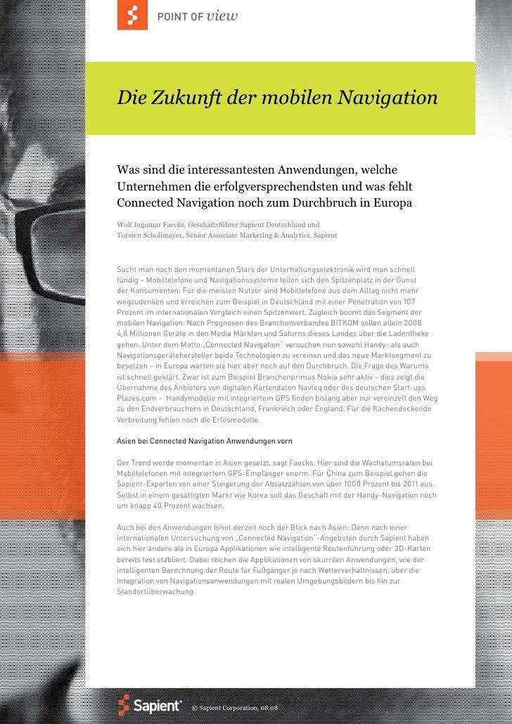 POINT OF view     Die Zukunft der mobilen Navigation   Was sind die interessantesten Anwendungen, welche Unternehmen die e...