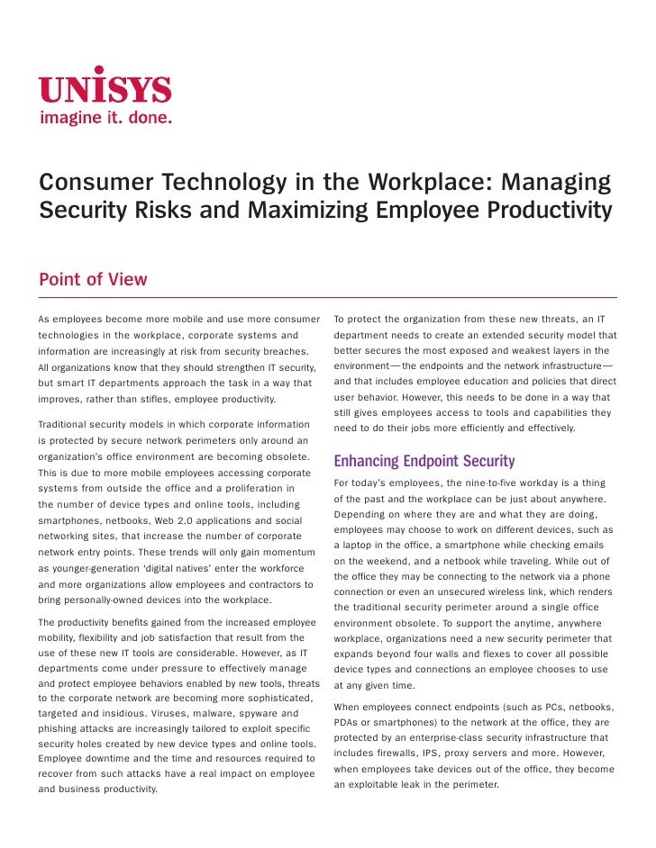 Consumer Technology in the Workplace: Managing Security Risks and Maximizing Employee Productivity