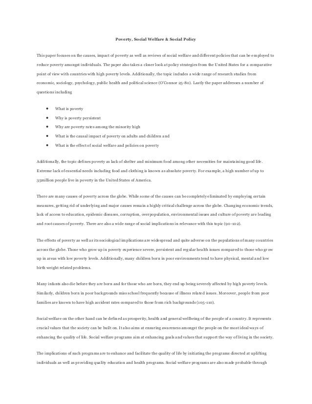poverty policy paper P112445 topics in poverty, inequality and policy, spring 2011  paper: the paper must be the sole work of the individual student, using appropriate.