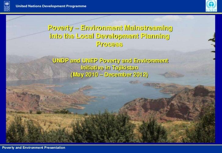 Poverty-Environment Initiative in Tajikistan