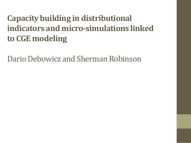 Capacitybuilding in distributionalindicators and micro-simulationslinkedto CGE modelingDario Debowiczand Sherman Robinson