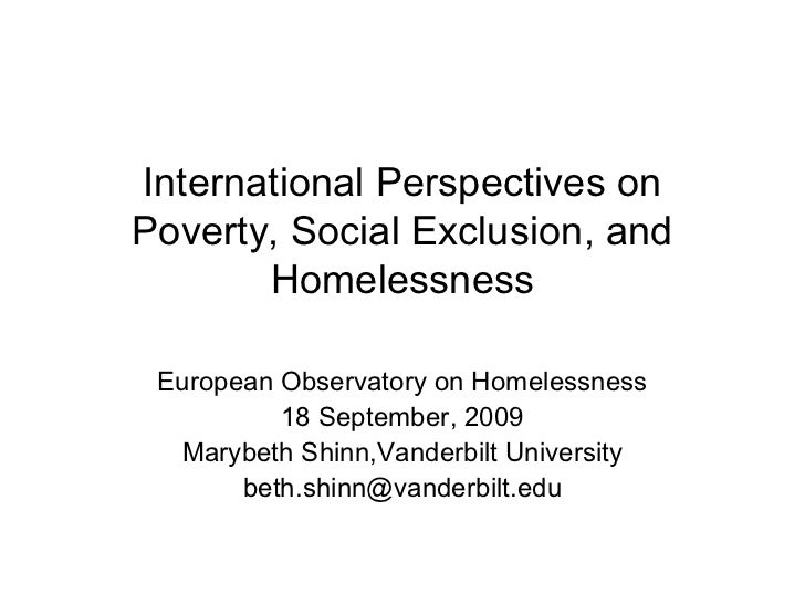 International Perspectives on Poverty, Social Exclusion, and Homelessness