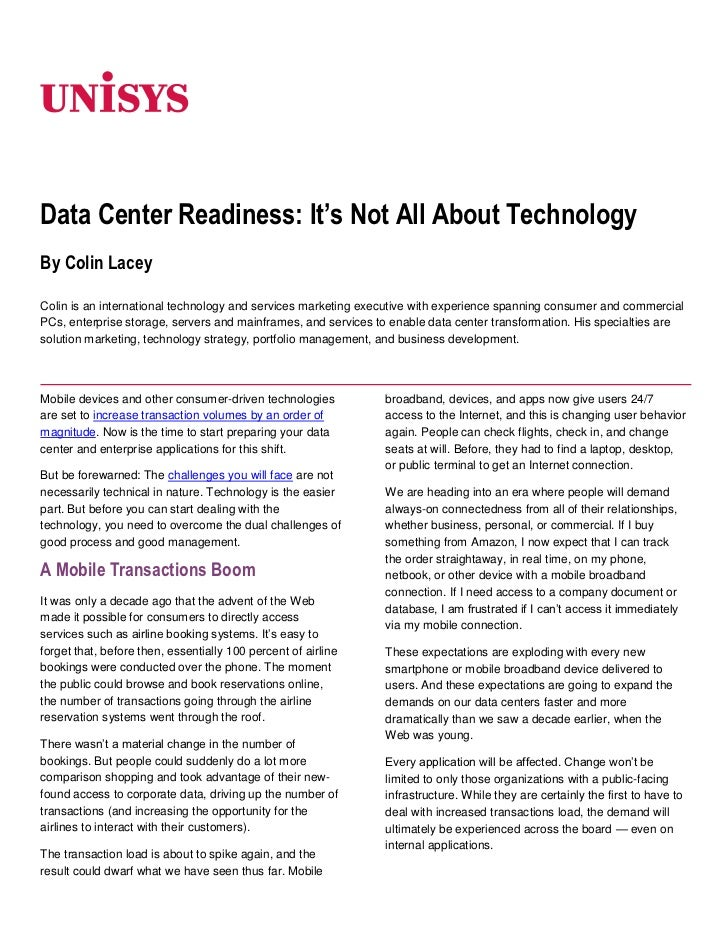 Data Center Readiness: It's Not All About Technology