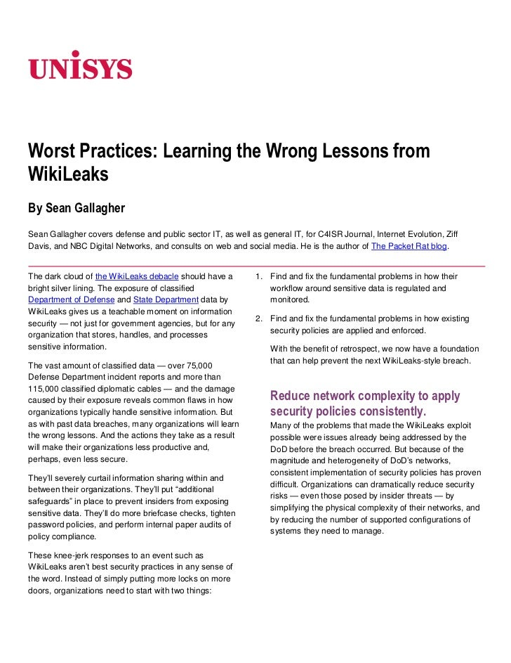 06350<br />Worst Practices: Learning the Wrong Lessons from WikiLeaks<br />By Sean Gallagher<br />Sean Gallagher covers de...
