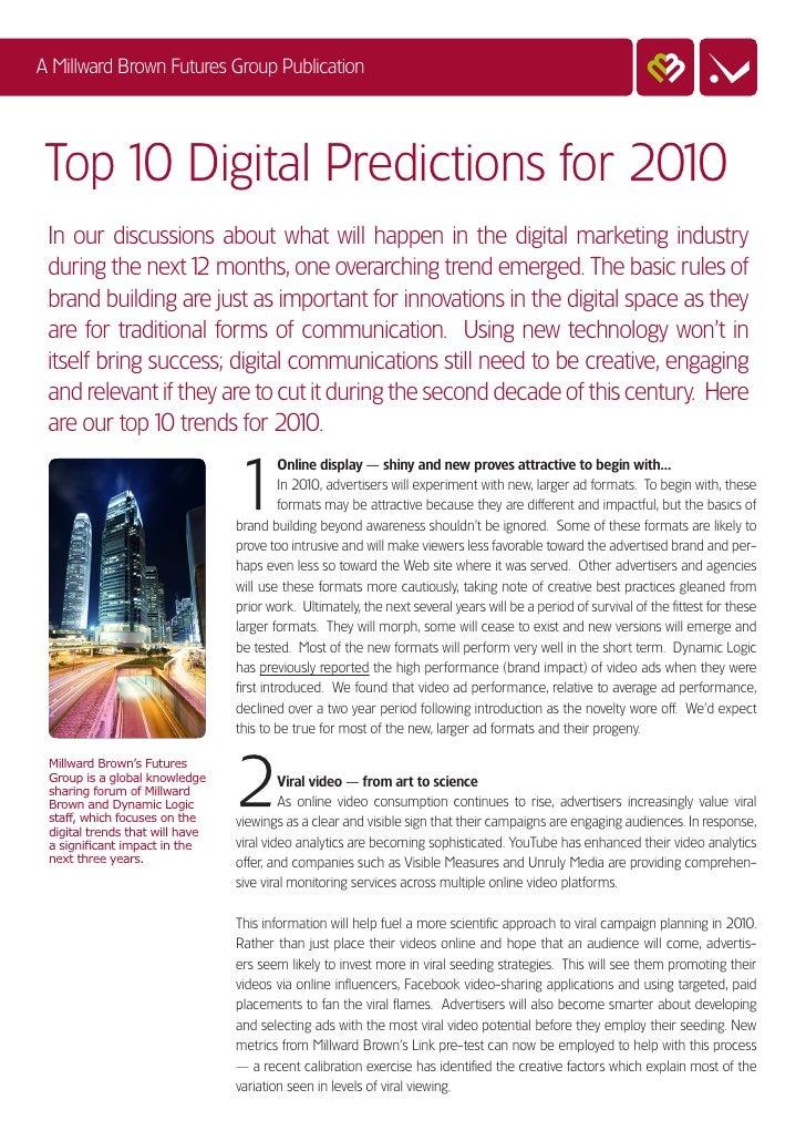 Millward Brown's Top 10 Digital Predictions for 2010