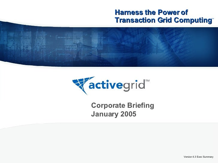 Version 6.3 Exec Summary Corporate Briefing January 2005 Harness the Power of Transaction Grid Computing   ™