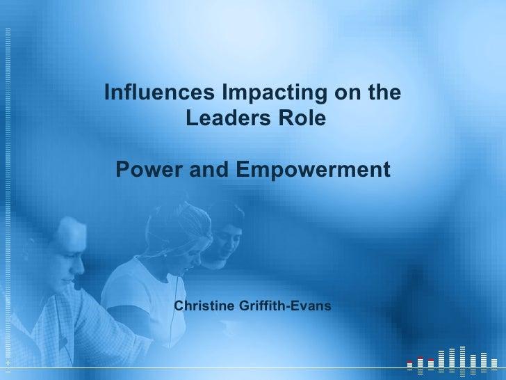<ul><li>Influences Impacting on the </li></ul><ul><li>Leaders Role </li></ul><ul><li>Power and Empowerment </li></ul><ul><...
