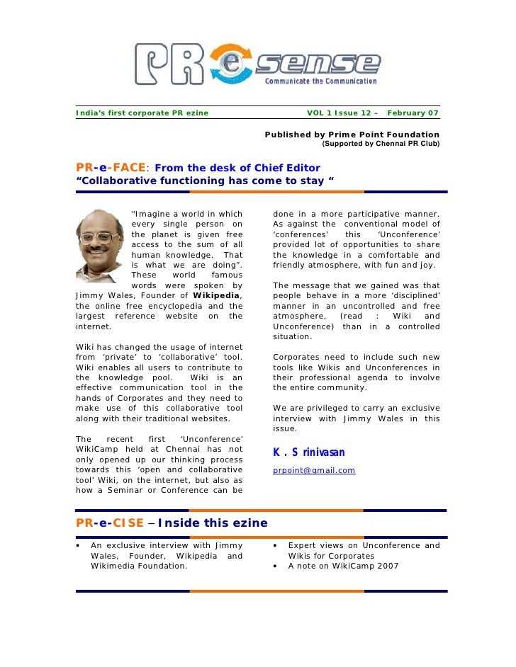 India's first corporate PR ezine                   VOL 1 Issue 12 – February 07                                           ...
