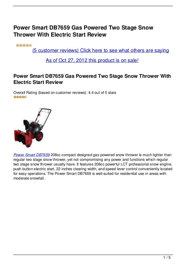Power Smart DB7659 Gas Powered Two Stage Snow Thrower With Electric Start Review