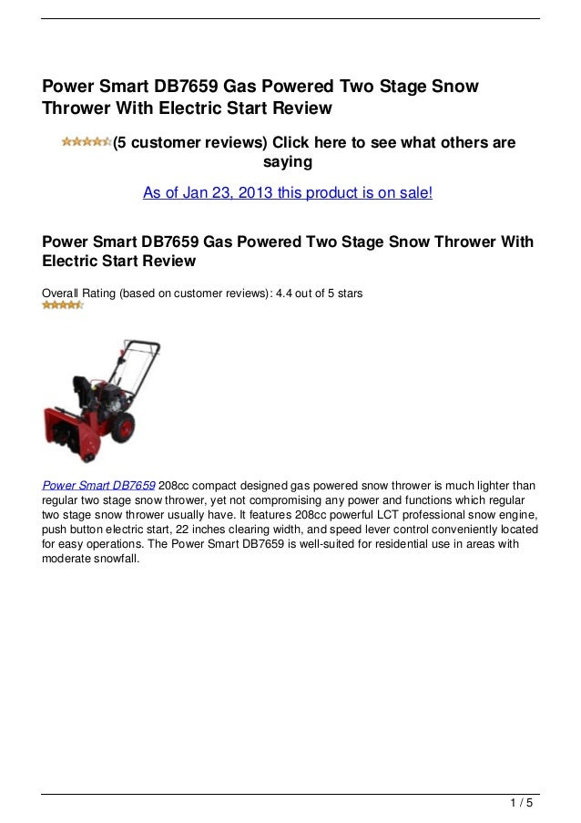 Power Smart DB7659 Gas Powered Two Stage SnowThrower With Electric Start Review              (5 customer reviews) Click he...