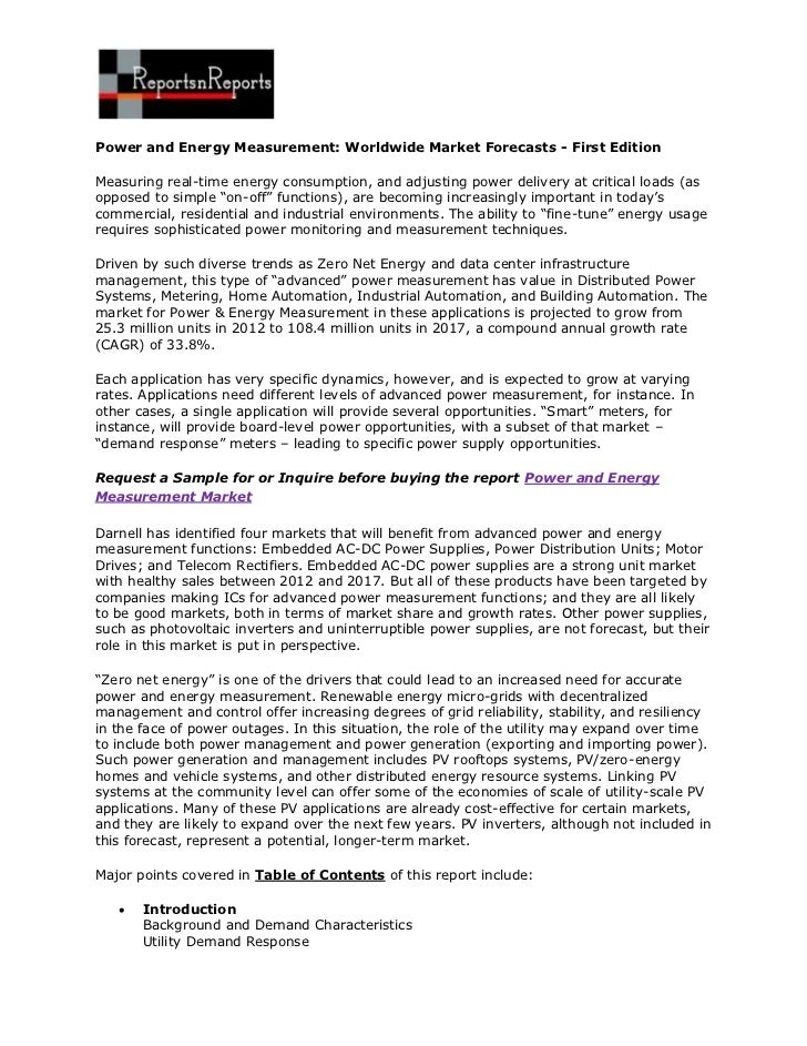 Power and Energy Measurement: Worldwide Market Forecasts - First EditionMeasuring real-time energy consumption, and adjust...