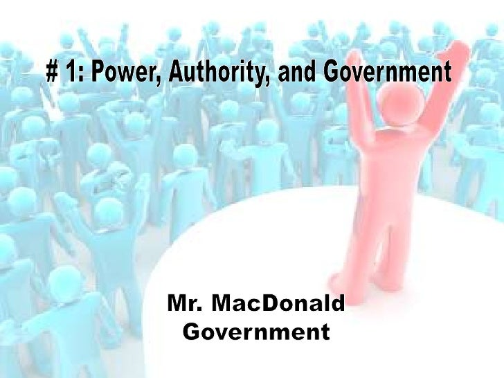 government power and authorities Authority is a power or right, usu because of rank or office, to issue commands and to punish for violations: to have authority over subordinates control is either power or influence applied to the complete and successful direction or manipulation of persons or things: to be in control of a project influence is a personal and unofficial.