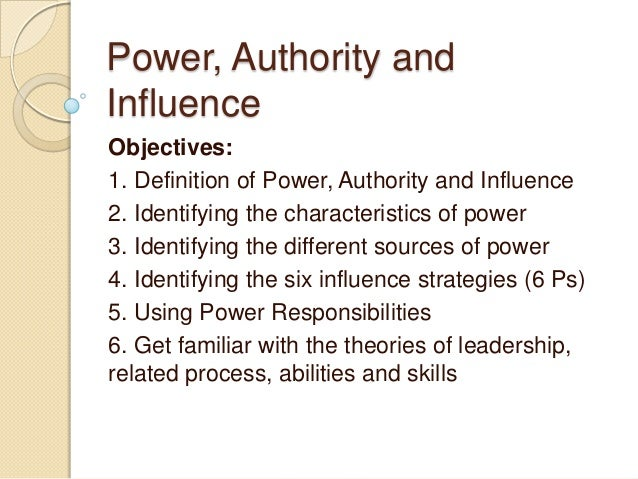 what are the relationship between force power authority and influence
