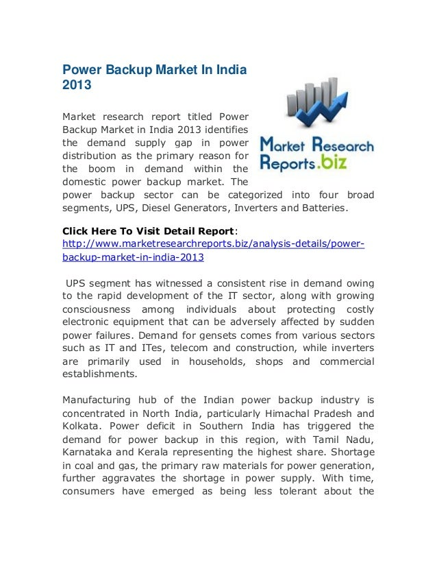Biz: Power backup market in india 2013: Latest Research Report