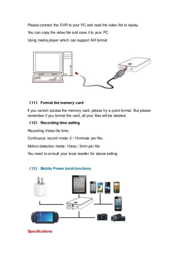 Power Bank Dvr Spy Camera Sp 007 S User Manual