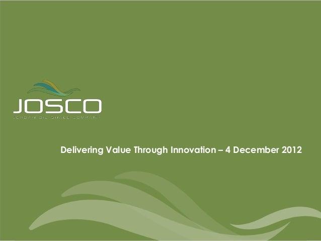 Delivering Value Through Innovation – 4 December 2012                                                        1