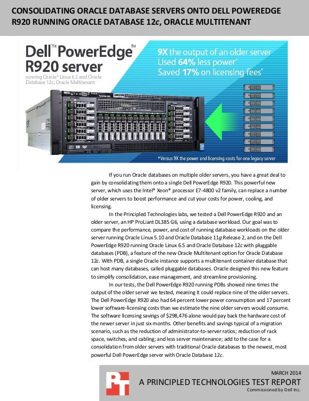 Consolidating Oracle database servers onto Dell PowerEdge R920 running Oracle Database 12c, Oracle Multitenant