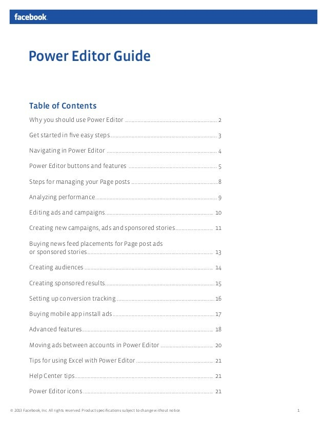 Power Editor Guide Table of Contents Why you should use Power Editor ........................................................