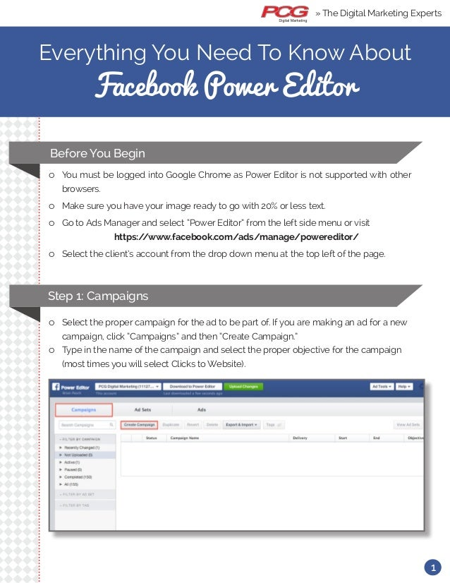 Everything You Need To Know About Facebook Power Editor ll You must be logged into Google Chrome as Power Editor is not su...