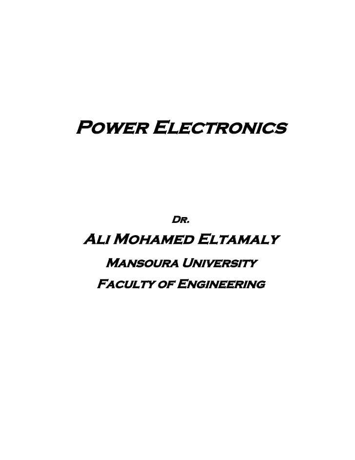 Power Electronics          Dr.Ali Mohamed Eltamaly  Mansoura University Faculty of Engineering