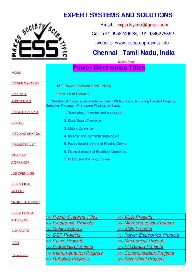 Power electronics projects - M.E, B.E, Ph.D, EEE, ECE, EIE Projects