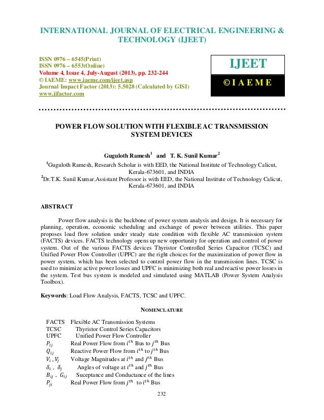 Power flow solution with flexible ac transmission system devices