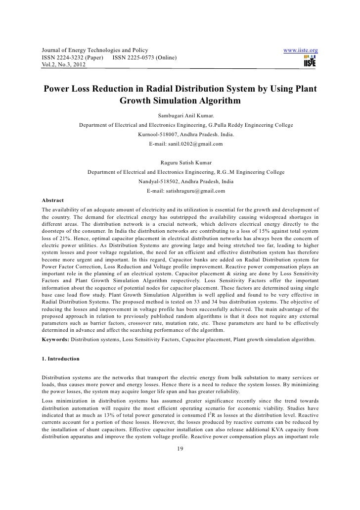 Power loss reduction in radial distribution system by using plant growth simulation algorithm