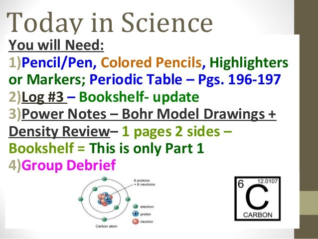 Today in Science You will Need: 1)Pencil/Pen, Colored Pencils, Highlighters or Markers; Periodic Table – Pgs. 196-197 2)Lo...
