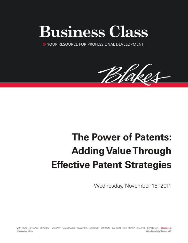 Power of Patents, November 16, 2011