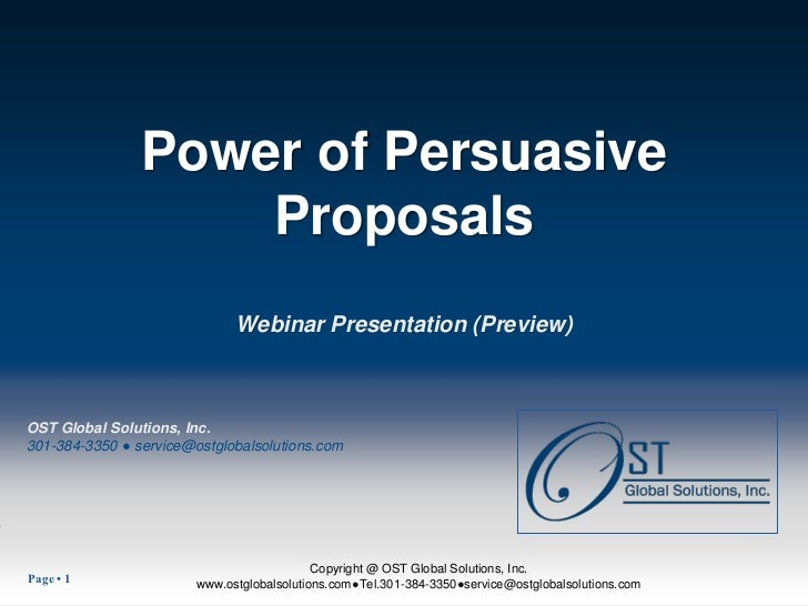 Power of Persuasive                    Proposals                              Webinar Presentation (Preview)OST Global Sol...