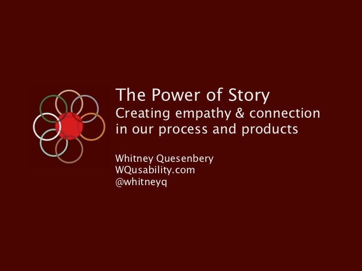 The Power of StoryCreating empathy & connectionin our process and productsWhitney QuesenberyWQusability.com@whitneyq