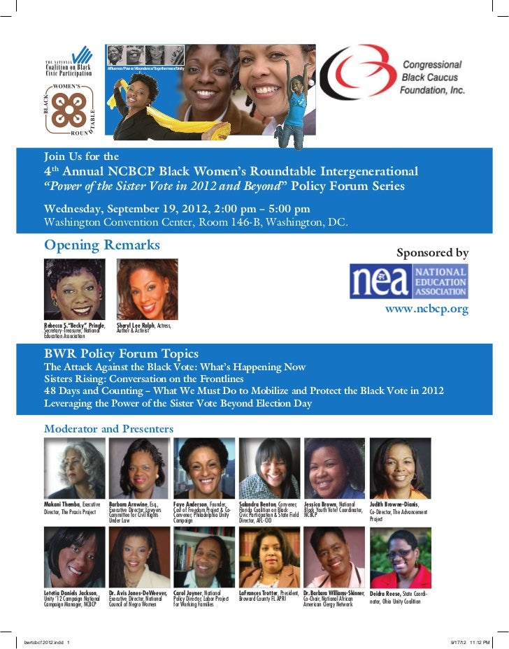 4th Annual National Coalition on Black Civic Participation Black Women's Roundtable