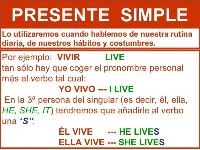 Imagenes de Presente Simple en Ingles Verbos Inglés Presente Simple